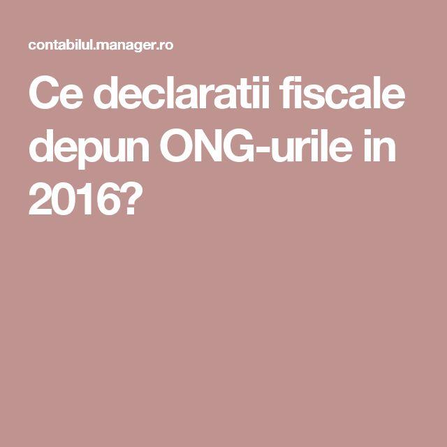 Ce declaratii fiscale depun ONG-urile in 2016?