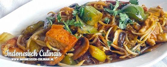 Cah Sayur - Gebakken speklapjes met tofu, champignons en tauge
