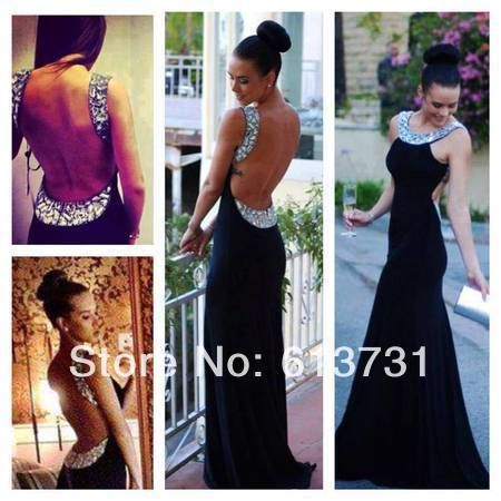 2014 New Fashion Spring Scoop Crystal Shinning Open Back Black Long Prom Dresses Mermaid Chiffon Evening Party Gowns