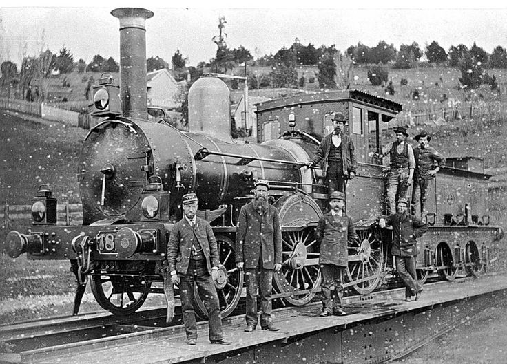 Negative - Victorian Railways F-class 2-4-0 Steam Locomotive & Crew on the Turntable, Daylesford, Victoria, 1890 - Museum Victoria