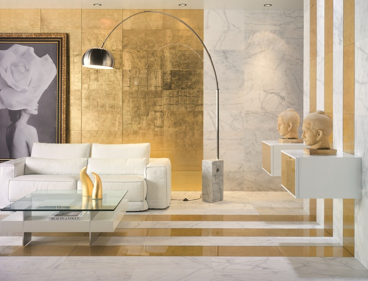 INDOOR GOLD LEAF WALL/FLOOR TILES PAN DE ORO MEGALOS VITRA COLLECTION BY DUNE CERAMICA