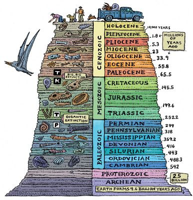 Geologic Layers of Earth's Life History. Learn more about our Earths history at Kopernik Observetory and Science Center in Vetsal, NY today!!