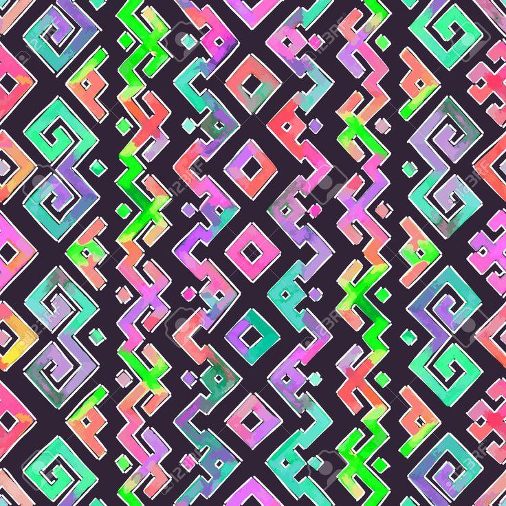 Mano Acquerello Disegnato Etnico Tribale Modello Ornamentale. Tessuto, Scrapbooking, Carta Da Regalo Modello Struttura. Clipart Royalty-free, Vettori E Illustrator Stock. Image 39785762.