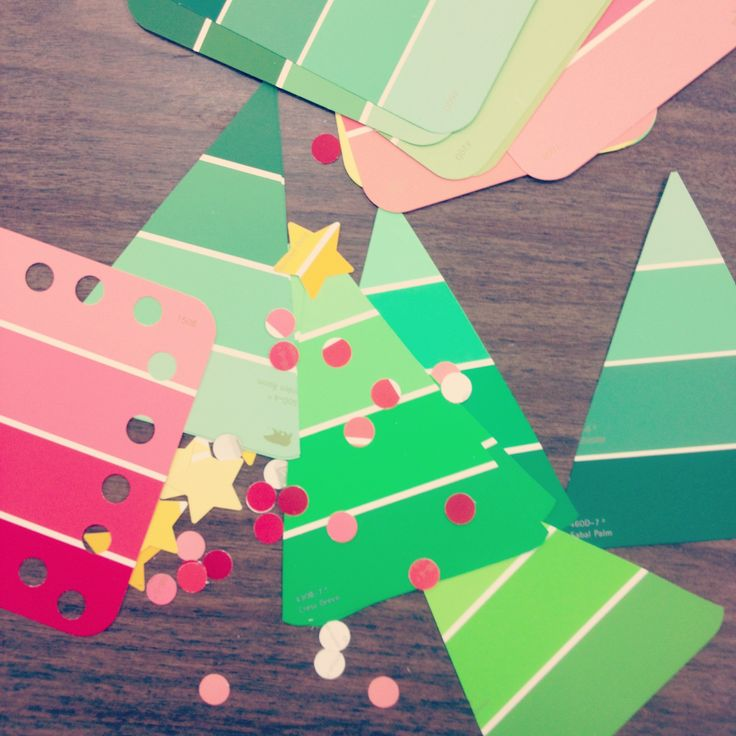 paint chip christmas tree craft for kids