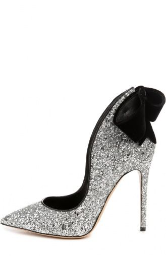 Женские серебряные туфли с блестками и бархатным бантом Aleksandersiradekian…