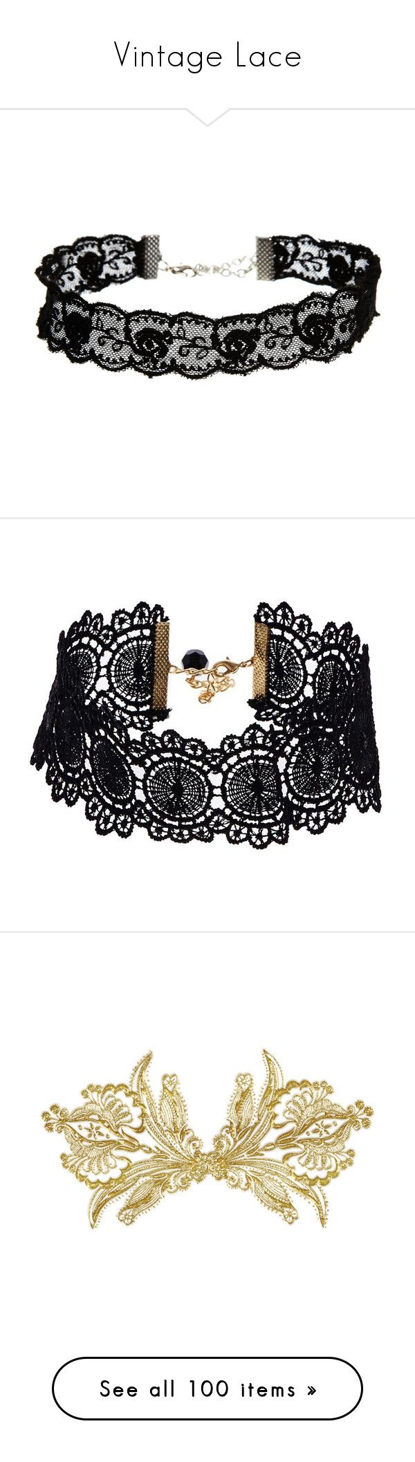 """""""Vintage Lace"""" by jewelsinthecrown ❤ liked on Polyvore featuring jewelry, necklaces, accessories, chokers, black, choker jewelry, lace necklace, adjustable necklace, asos necklace and floral jewelry"""