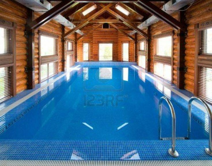 Gorgeous pool inside log cabbin