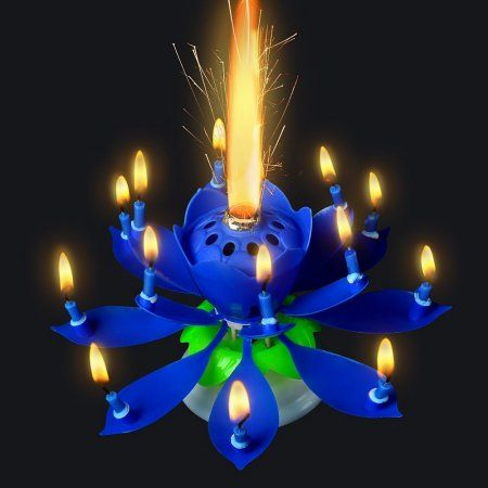 Birthday Candle 3PCS Blue Lotus Rotating Play Music Happy To You Decorative Candles For Cake Amazing Romantic Musical Image 4 Of
