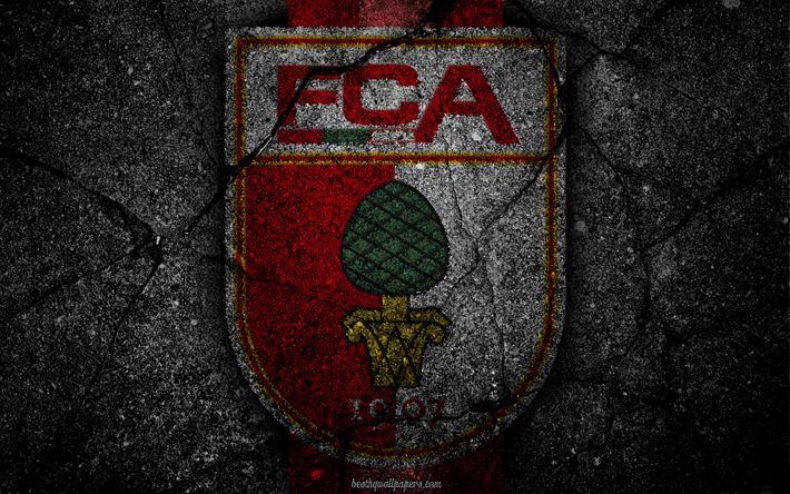 Download wallpapers Augsburg, logo, art, Bundesliga, soccer, football club, FC Augsburg, asphalt texture