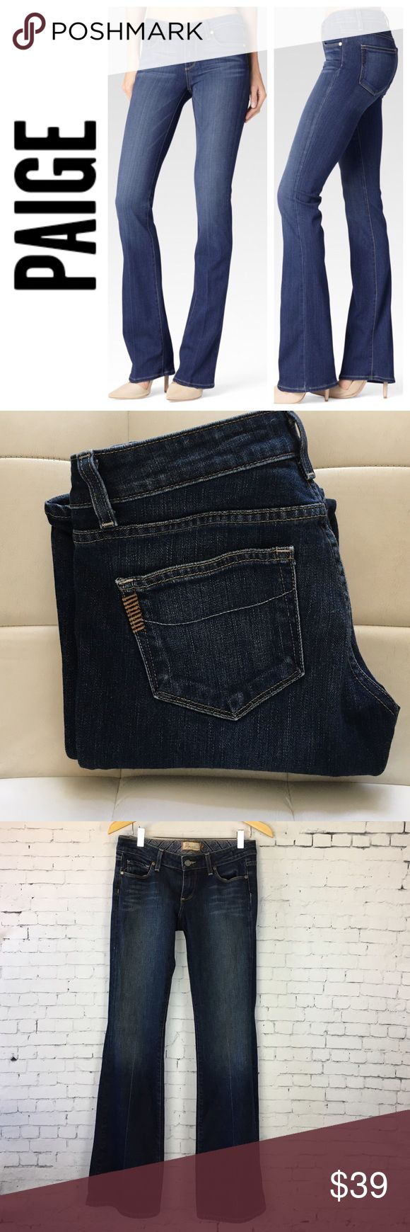 """Paige Laurel Canyon low rise bootcut jeans Beautiful jeans from Paige denim in the low rise bootcut Laurel Canyon style. Very flattering cut that elongates the legs with subtle wiskering in a timeless blue wash. 7"""" rise and 31"""" inseam. Size 27. By Paige Premium Denim. In excellent condition. Paige Jeans Jeans Boot Cut"""