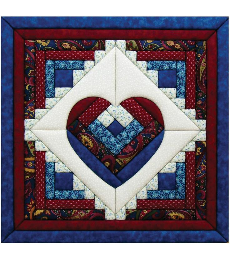 "Log Cabin Heart Quilt Magic Kit-15-1/2""X15-1/2"""
