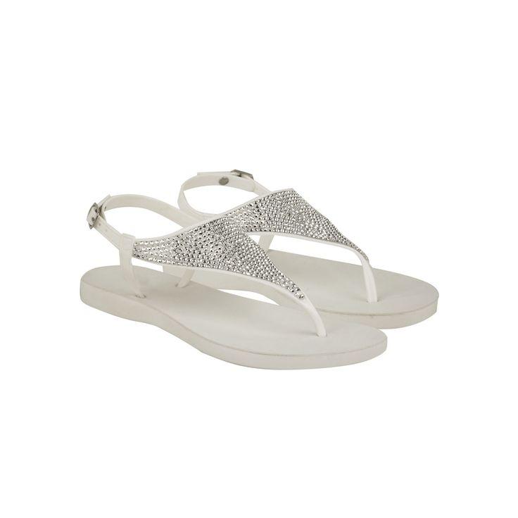 White Diamante Flip Flop Toe Thong Strappy Sandals - Shanni