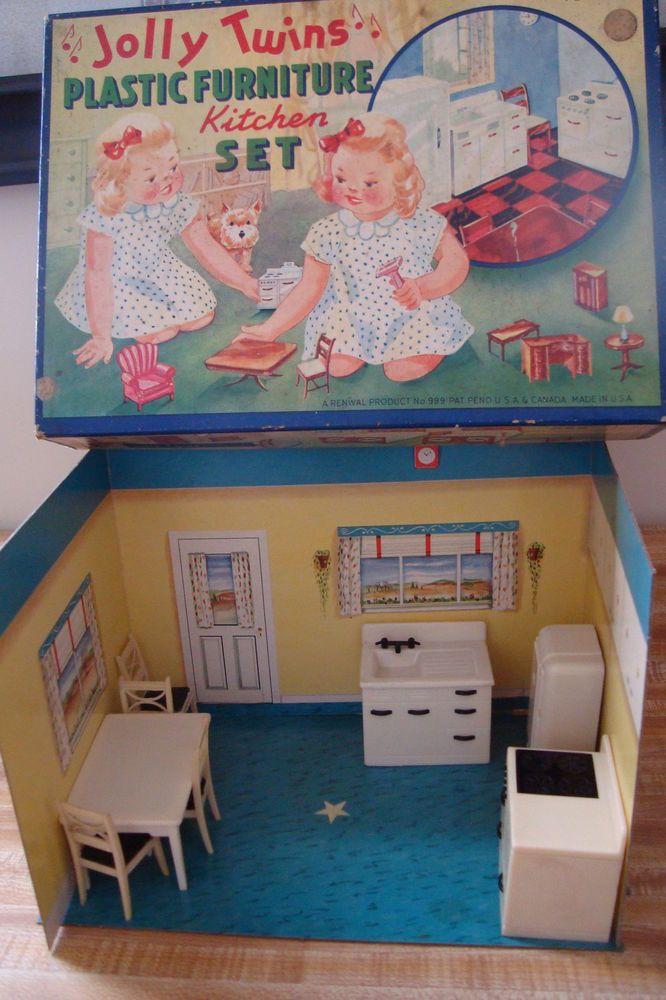 Vintage Renwal Jolly Twins Plastic Dollhouse Furniture Kitchen Set Very Rare