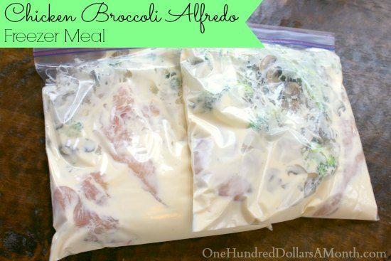 Freezer Meals – Chicken Broccoli Alfredo