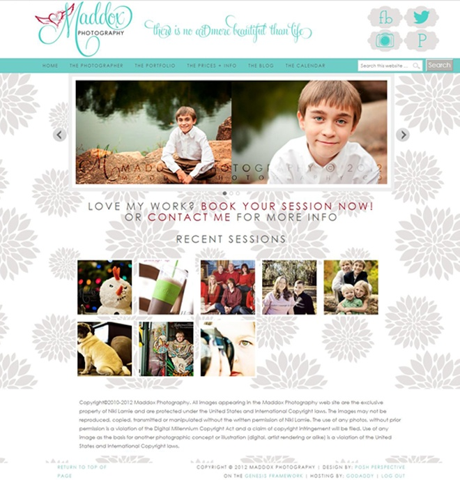 Wordpress Design for Maddox Photography by The Posh Perspective Design Studio  www.maddoxphotography.co