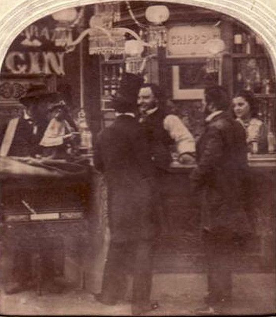 https://flic.kr/p/6dy1xa | Bar interior, monkey on counter? 1870's