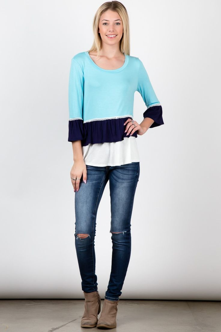 Blue Navy Color Block Round Neck Bell Sleeve Ruffle Top! #fashion #USA #streetwear #streetstyle #streetfashion #trend #outfit #fashionweek #fashionshow #beauty #Sleeveless