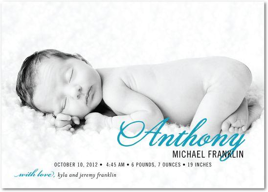 A Proud Picture: Aqua - Boy Photo Birth Announcements in Aqua   Le Papier Boutique