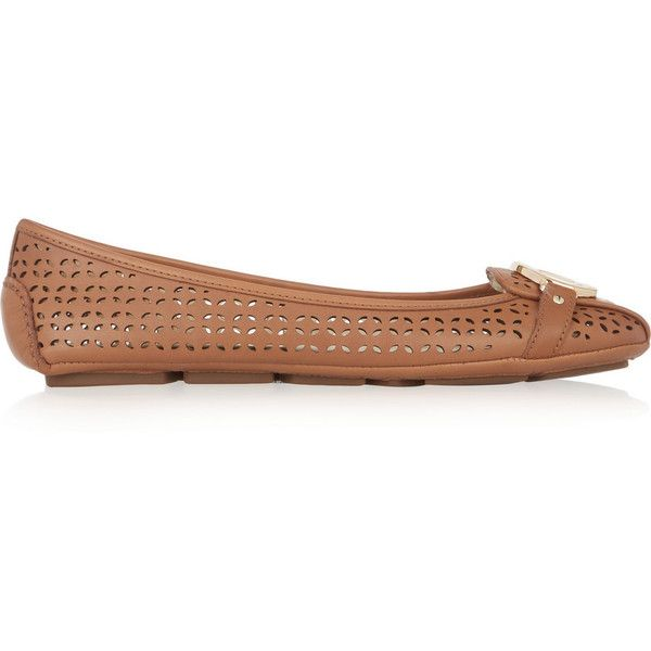 MICHAEL Michael Kors Fulton laser-cut leather ballet flats ($95) ❤ liked on Polyvore featuring shoes, flats, brown, ballet pumps, brown ballet flats, brown leather flats, leather flats and brown slip on shoes