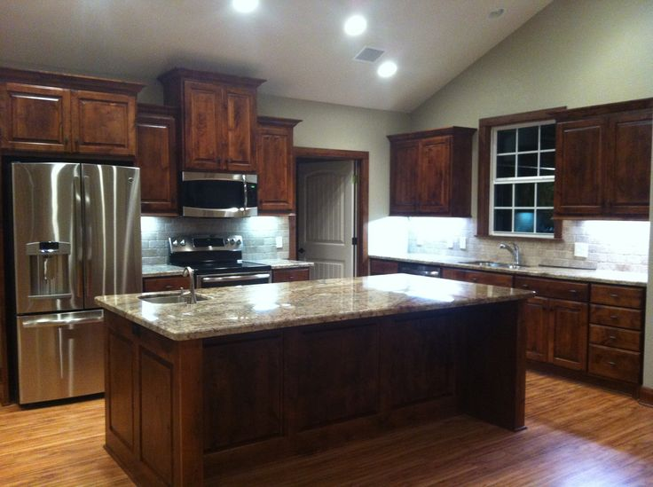 I Just Love My New Kitchen Knotty Alder Cabinets Sienna Bordeaux Granite And Stainless
