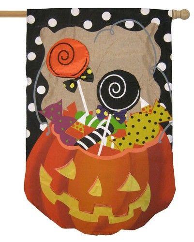 Burlap Halloween Candy Treat Decorative House Flag