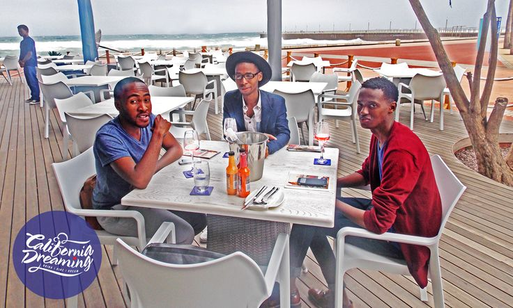 Satisfied patrons enjoying some wine while relaxing on our beach-facing sundeck.  #californiadreamingDBN