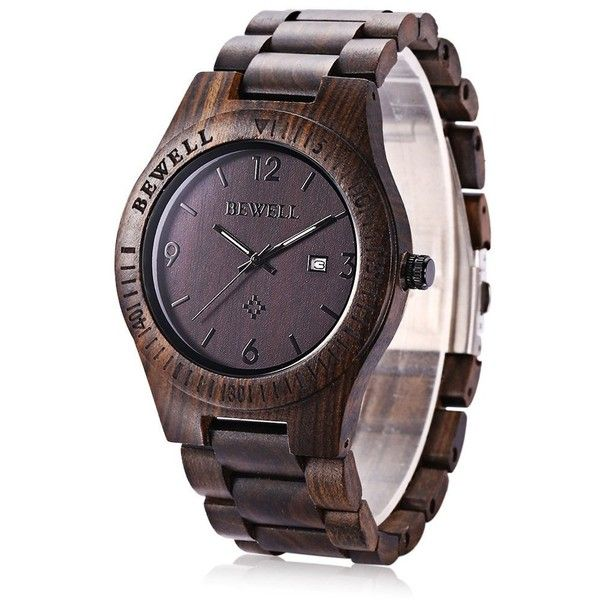 Bewell W086B Mens Wooden Watch Analog Quartz Lightweight Handmade Wood... ($26) ❤ liked on Polyvore featuring men's fashion, men's jewelry, men's watches, mens wide band watches, mens wood watches, mens watches jewelry and mens wooden watches