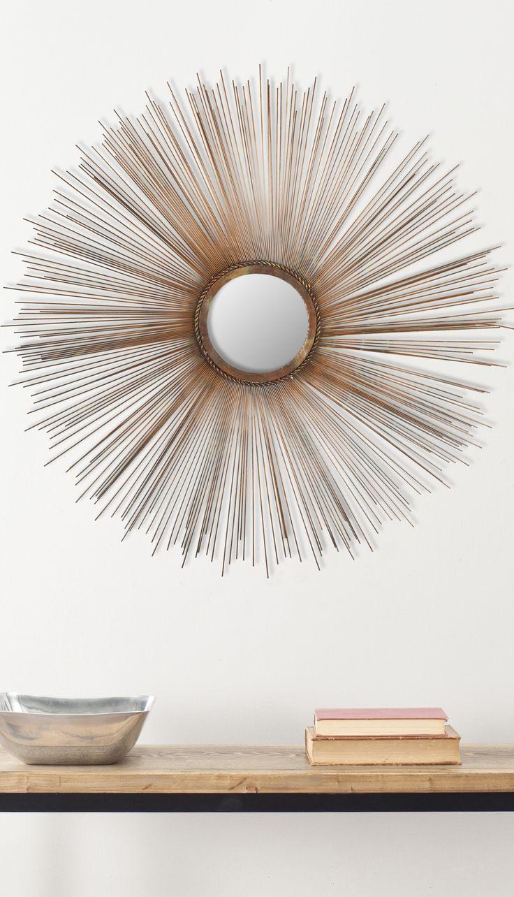 Spiky sun mirror in burnt copper
