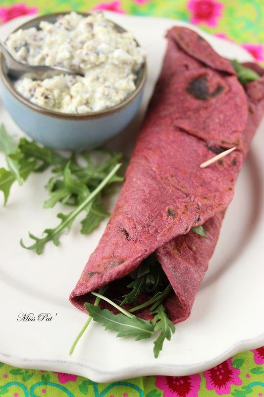 Wrap à la betterave, sauce tofu & herbes - Miss Pat'