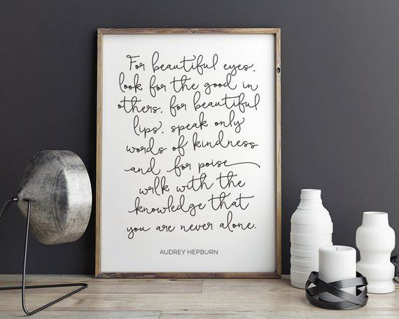 Audrey Hepburn Quote For Beautiful Eyes Canvas Wall Art Picture Print