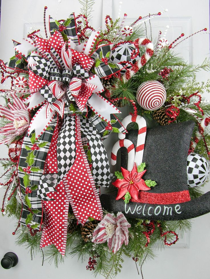 Welcome Peppermint Wreath