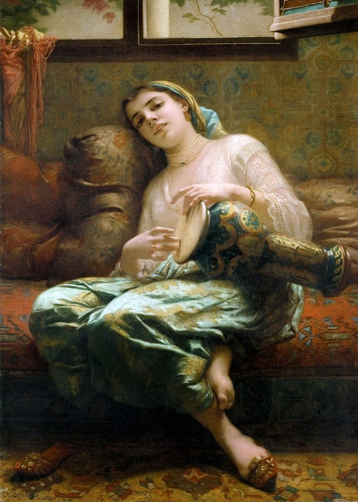 Algerian Woman Playing a Darbouka (1887). Charles Landelle (French, 1821–1908). The Eastern and North-African darboukas, or goblet drums, are played under the arm or resting on the player's leg, with a much lighter touch and quite different strokes (sometimes including rolls or quick rhythms articulated with the fingertips) than hand drums such as the djembe, found in West Africa.