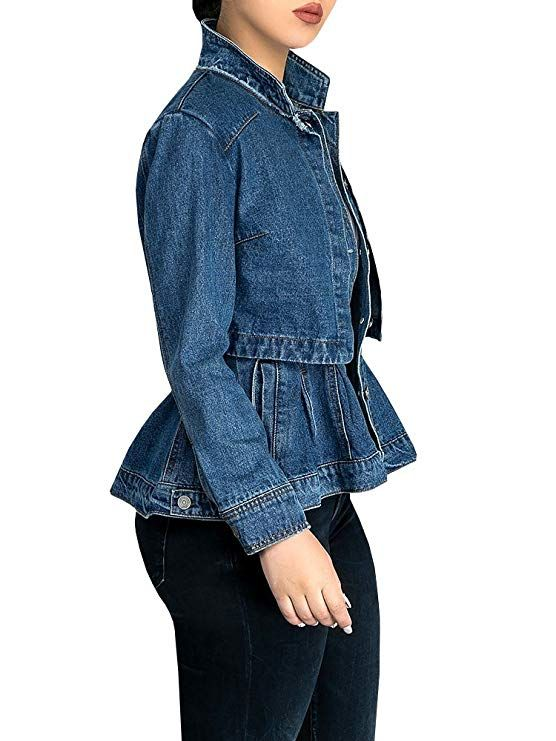 372774ccd8a88 Womens Vintage Slim Fit Cape Up Peplum Button Down Denim Jean Jacket with Asymmetry  Ruffle Hem Plus Size at Amazon Women s Coats Shop