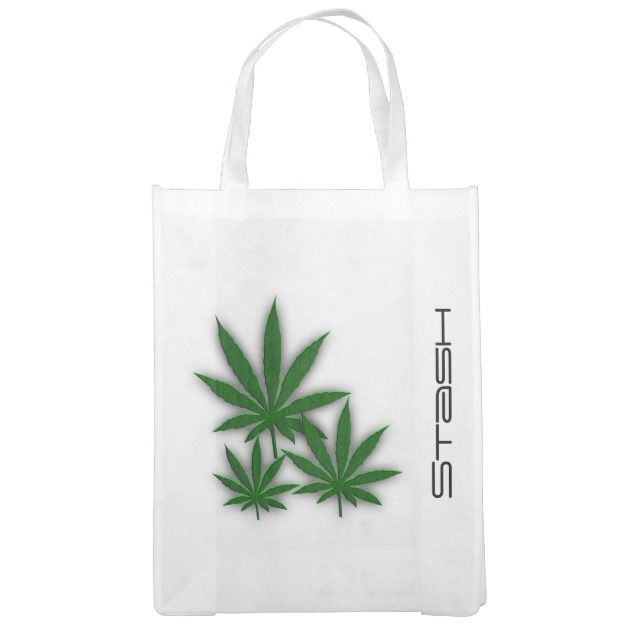Three awesome pot leaves on white Weed Leaves Stash Reusable Grocery Bags by kahmier Look at market totes online at zazzle.com
