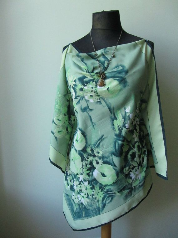 Womens Upcycled Clothing Vintage Scarf by GarageCoutureClothes
