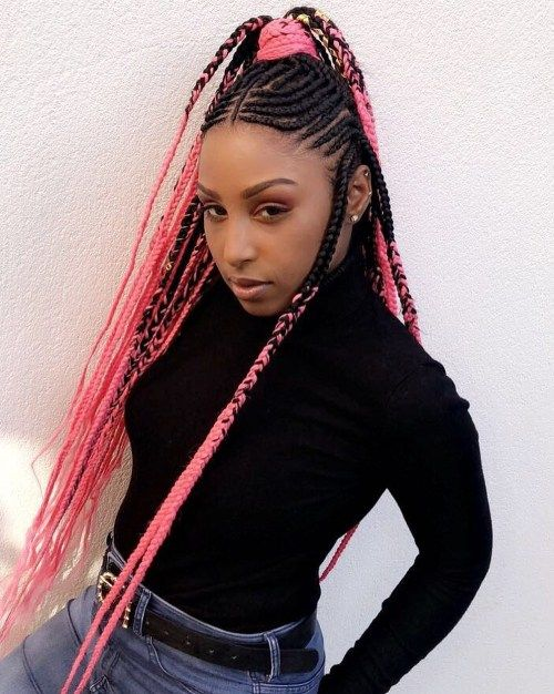 Fulani Braids with Bright Pink Yarn Extensions Side Braid Hairstyles, Try On Hairstyles, Trending Hairstyles, Layered Hairstyles, Natural Hairstyles, Pink Hair Extensions, Braids With Extensions, Blonde Box Braids, Braids For Black Hair