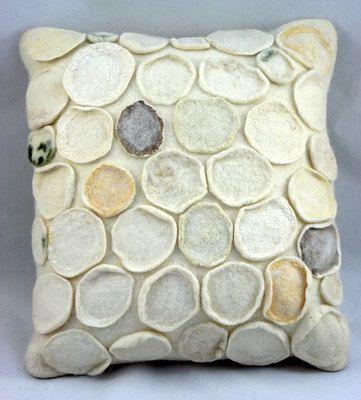 Hand felted textured cushion 'Lichen' approx 16 x by gladyspaulus, $95.00