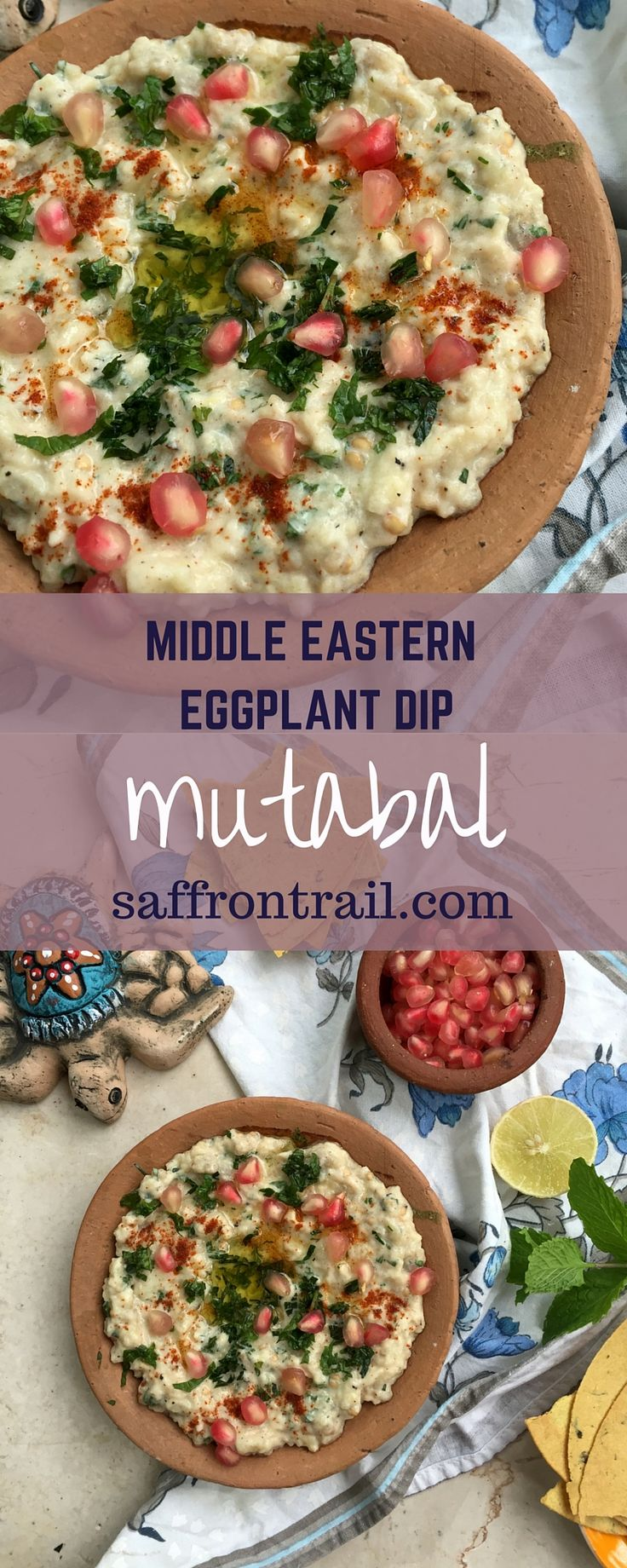Mutabal - A Middle Eastern Eggplant Dip Recipe for Mutabal / Moutabbal / Moutabel - an eggplant dip which is part of a Mezze platter. A bowl of hummus, another bowl of mutabal, a stack of pita breads or crackers, and you'll feel that life is indeed amazing