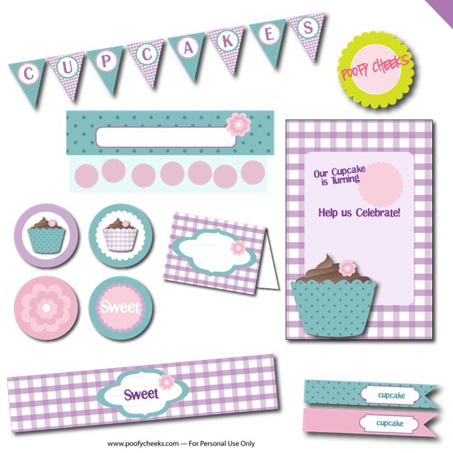 Free Cupcake Party Printables by Poofy Cheeks!!