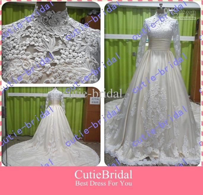Wholesale High Quality A-line Lace Long Sleeve Wedding Dress With High Neck Muslim Wedding Gown, Free shipping, $200.56-217.65/Piece | DHgate
