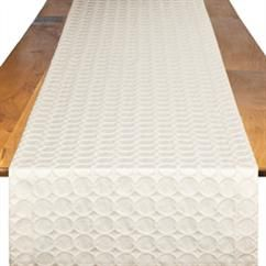 Ivory Circulo Table Runner   Rent Table Linens   Event Decor