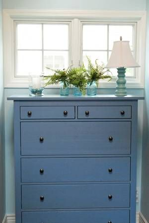 Hemnes 6 Drawer Chest Blue Bedroom Decor Cottage Style Beach House