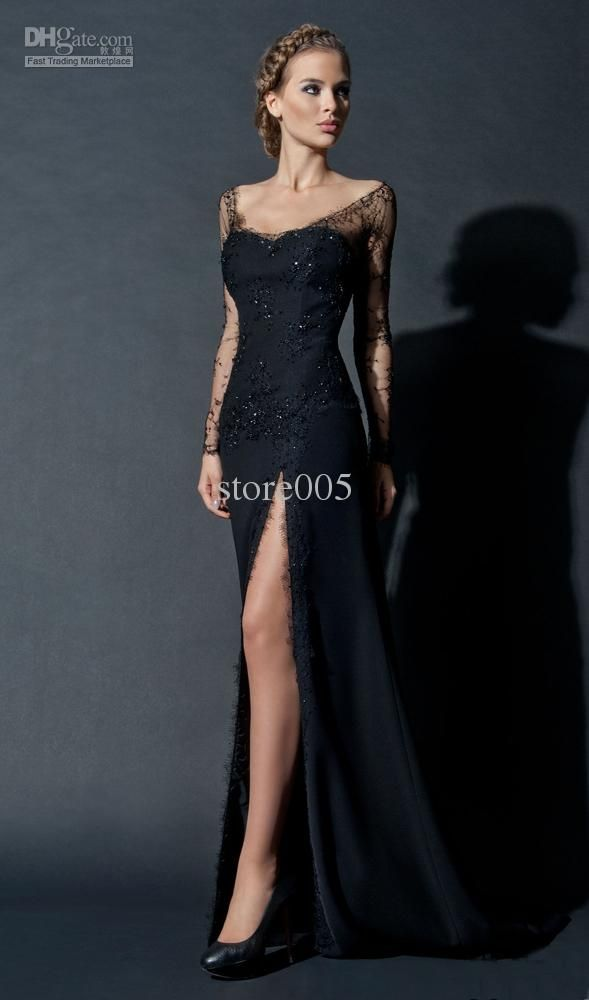 Wholesale Prom Evening Dresses Gown - Buy New Fashion Sexy Black Sequin Lace Long Sleeve Evening Gown Side Slit Long Celebrity Dresses E4221...