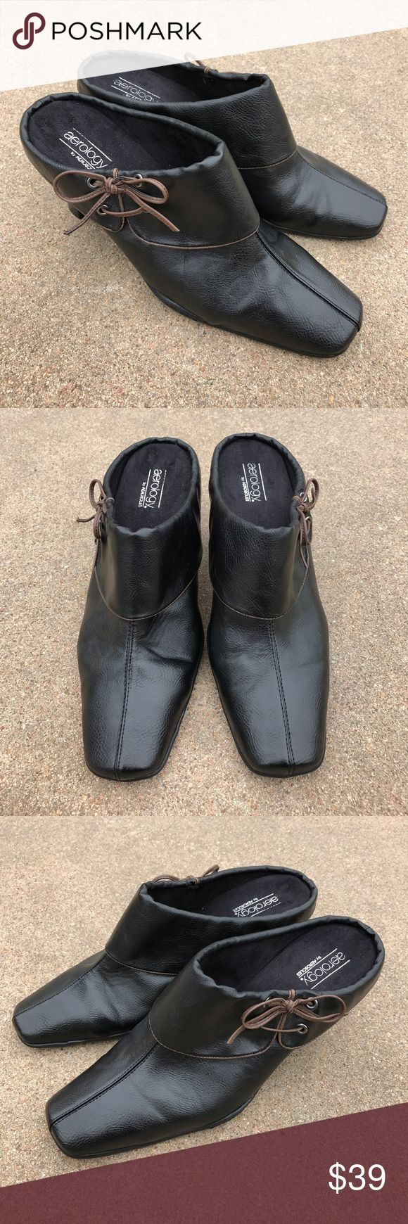 """aerology by AEROSOLES Women's Shoes Mules Clogs Lovely aerology by AEROSOLES women's shoes mules clogs heels black synthetic leather, flap with bow tie. Size 11 W. The heels are 3 5/8"""" high. Condition. Pre-owned, very light wear, in very good condition. aerology by Aerology  Shoes Mules & Clogs"""