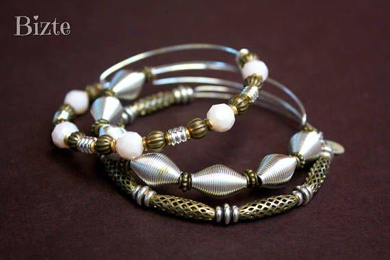 Adjustable Mix Metal Set of 3 Stack Bracelets Bangles Silver