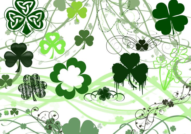 """Brushes: 30 Version: Photoshop 7+ (Includes CS's), Photoshop Elements 2+, GIMP 2.2.6+ A set of Photoshop brushes made up of various St. Patrick's Day images. Included are numerous shamrocks and clovers, including the more traditional three leaf clovers as well as the lucky four leaf variety! Some are scattered, some are textured, others are in various designs (including some pretty swirls and beautiful celtic designs / knotwork). Also included is a leprechaun, a """"St. Patric..."""