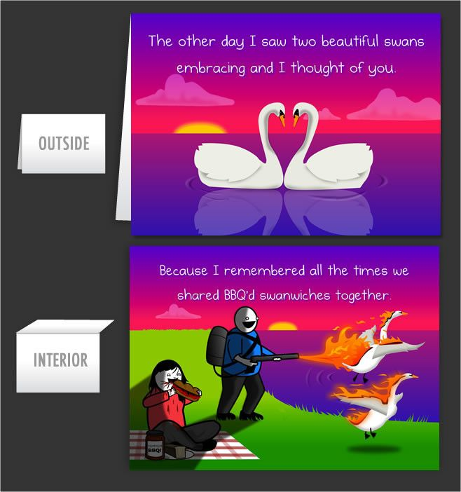 Two Beautiful Swans - Greeting Card #44 - The Oatmeal