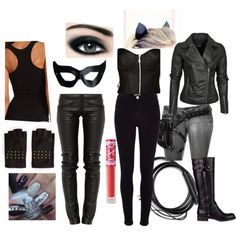 catwoman costume - Polyvore -- Grey pants, leather jacket, makeup, black tank top, ears, mask, boots, and VOILA! I have my costume