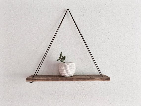 Wood Swing Shelf  Leather & Reclaimed Wood  Urban by MakersEyes