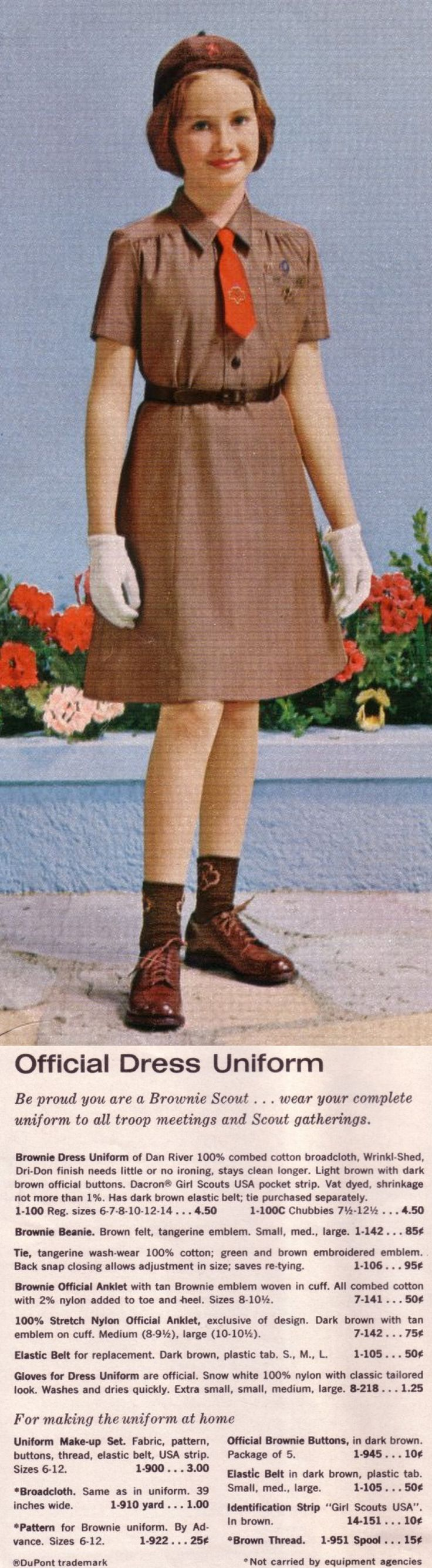 Official Dress Uniform  ... Be proud you are a Brownie Scout .... Wear your complete uniform to all troop meetings and Scout gatherings.  ~~~~~ (from the 1962 Brownie catalog)
